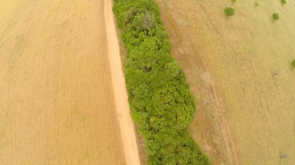 Countryside Field Road Flyover - Aerial Flight, Mallorca