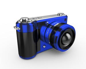 3d Digital Photo Camera (Blue) - isolated