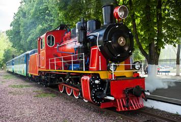 Steam locomotive blowing off the steam