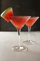 Watermelon martini cocktail drinks with space for text