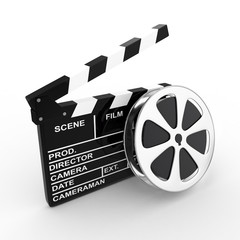 3d Photo Film and Clapboard - isolated
