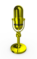 3d Retro Microphone Gold Metal - isolated