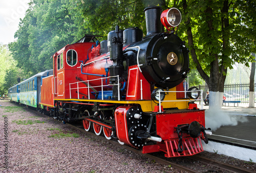 Steam locomotive blowing off the steam - 66450069
