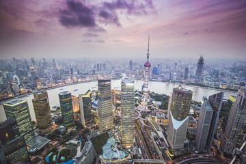 Widok z lotu ptaka Shanghai, Chiny