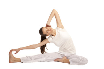 beautiful girl is engaged in yoga
