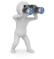 Binoculars and man