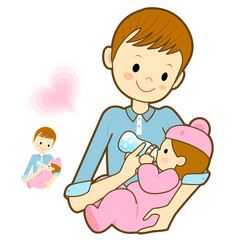 Father give a baby milk a bottle. Marriage and Parenting Charact