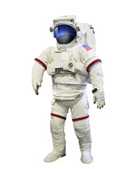 nasa astronaut pressure suit with galaxi space reflection on mas