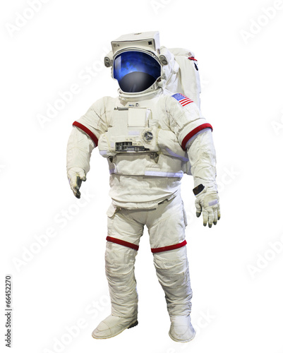 Leinwanddruck Bild nasa astronaut pressure suit with galaxi space reflection on mas