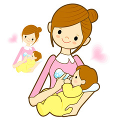 Mother give a baby milk a bottle. Marriage and Parenting Charact