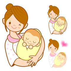 The mother holding newborn infant. Marriage and Parenting Charac
