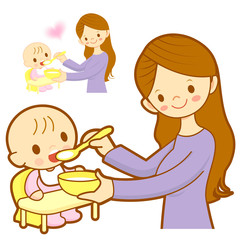 Mother give a baby food. Marriage and Parenting Character Design