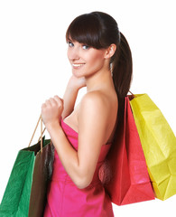 young lovely woman with shopping bags
