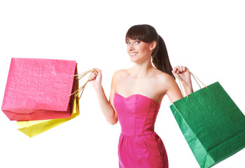 happy woman with shopping bags, isolated