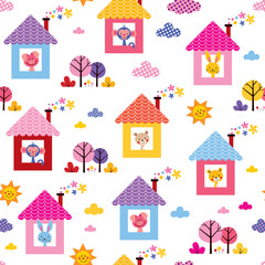 cute animals in houses kids pattern
