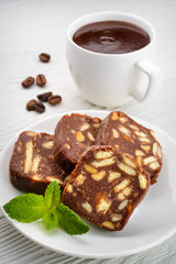 Chocolate salami with hot chocolate