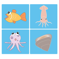 vector seafood set on the blue background