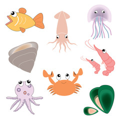 vector seafood set on the white background