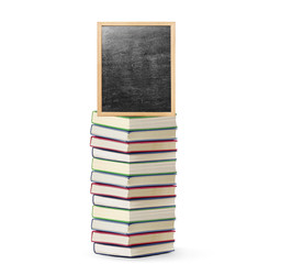 blackboard on book  with wooden frame