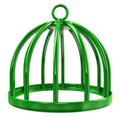 Illustration of green bird cage