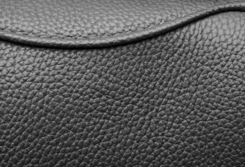 Texture of black leather with black stitching