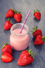 Closeup of strawberry fruit smoothies