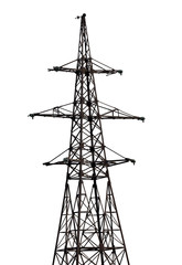 isolated on white electrical pylon