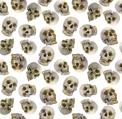 seamless background with human skulls
