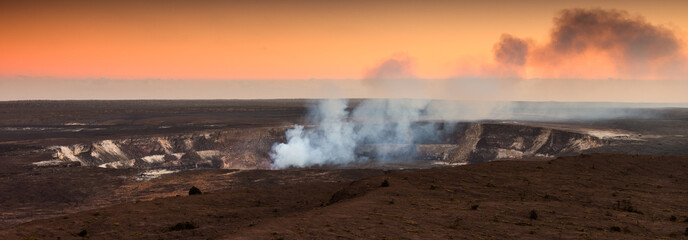 Halemaumau Crater At Sunset in Hawaii