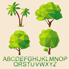 Green tree set with font by triangles, polygon  illustration