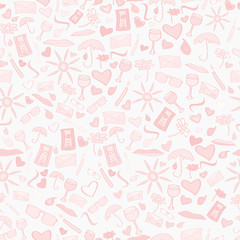 Doodle vector seamless love pattern