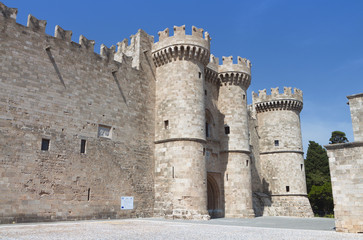 Castle of the knights at Rhodes island in Greece