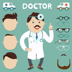 doctor character with spectacles on selection, vector  set