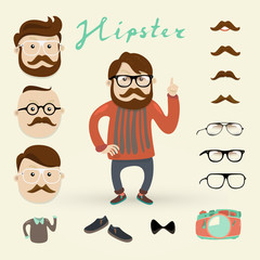 hipster character with hipster elements, vector illustration set