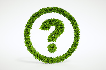 Natural leaf question symbol with white background