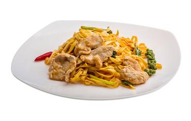 Fried noodles with pork