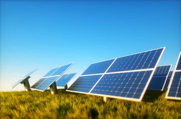 3d render image of grass field with photovoltaic