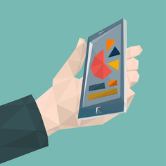 Mobile phone (iPhone) in hand icon by triangles, polygon