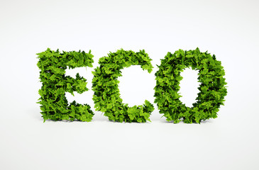 Ecological image of text, which is composed of many leaves
