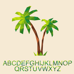 vector palm tree with font by triangles, polygon
