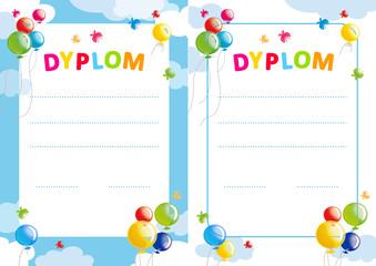 polish diploma for kids with balloons