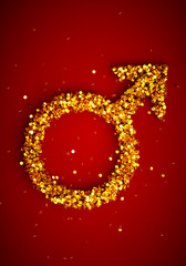 3d render image of male gender symbol wih many golden coins