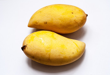double ripen yellow mango in isolate white background