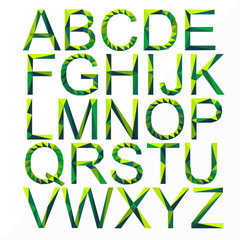 original green font by triangles, polygon vector illustration