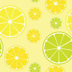 Vector seamless pattern with lemons yellow background..
