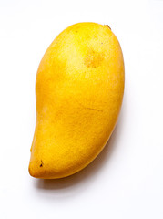 ripe big yellow mango in isolate white background