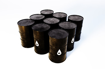 3d image of oil barrels with white background