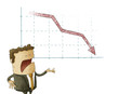 Businessman  and declining chart over isolated background