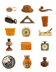 various antique tools and objects isolated on white