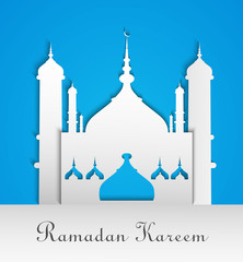 Mosque or Masjid with text Ramadan Kareem blue colorful backgrou